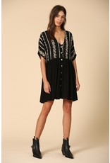 Embroidered Button Up Dress - Black