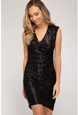 Sleveless Wrap Sequin Dress - Black