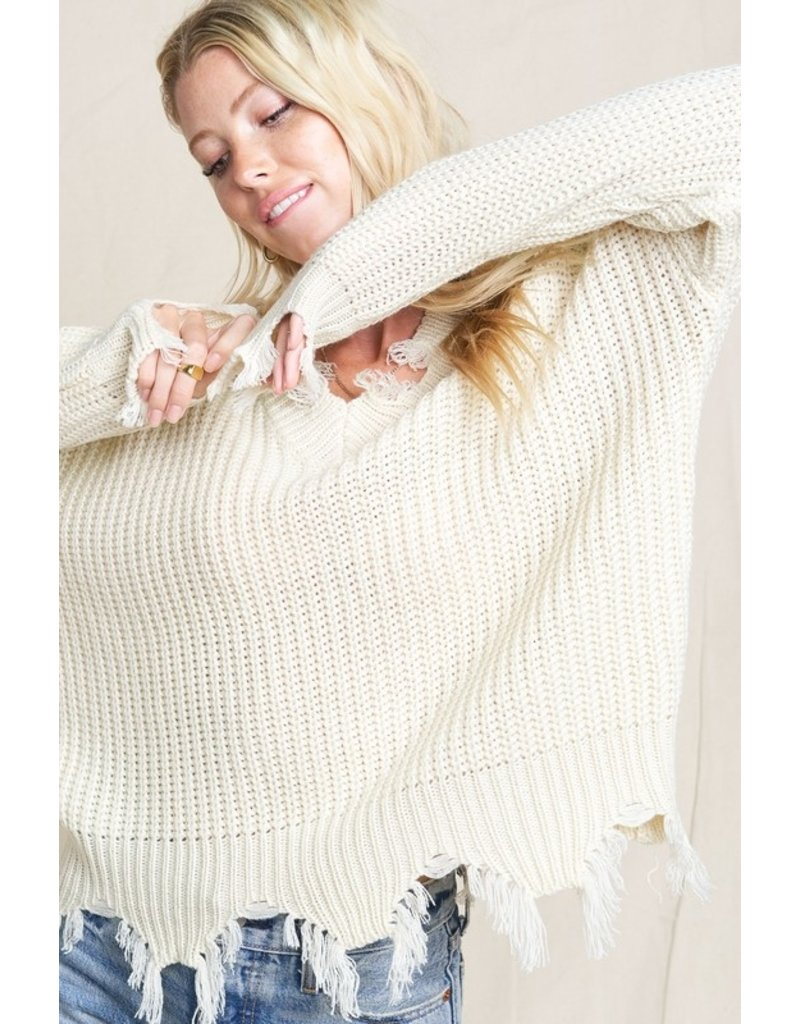 V Neck Distressed Sweater - Ivory