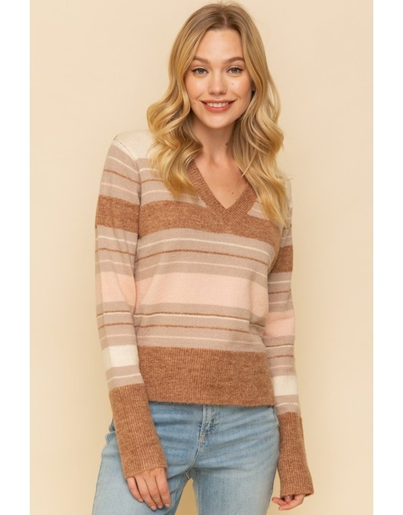 Stripe Mix Sweater Sweater - Brown/Pink/Grey