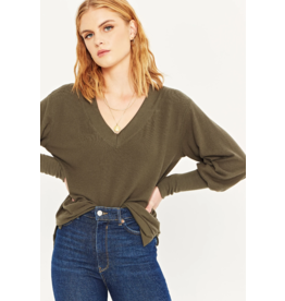 Project Social T Posie Cozy V Neck - Olive