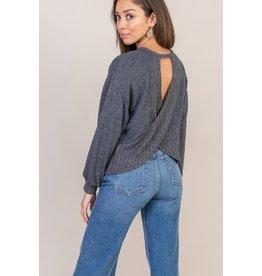 Lush Crossover Open Back Top - Charcoal