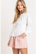 Lush Button up ruched top - White
