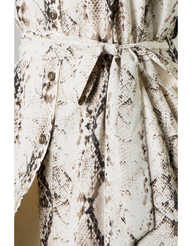Snake Print Button Up Dress