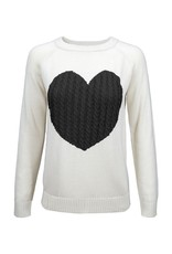 Heart Pullover Sweater - Oatmeal/black