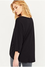 Project Social T Front Seam 3/4 sleeve top - Black