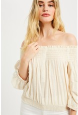 Off Shoulder Button Up Top - Cream