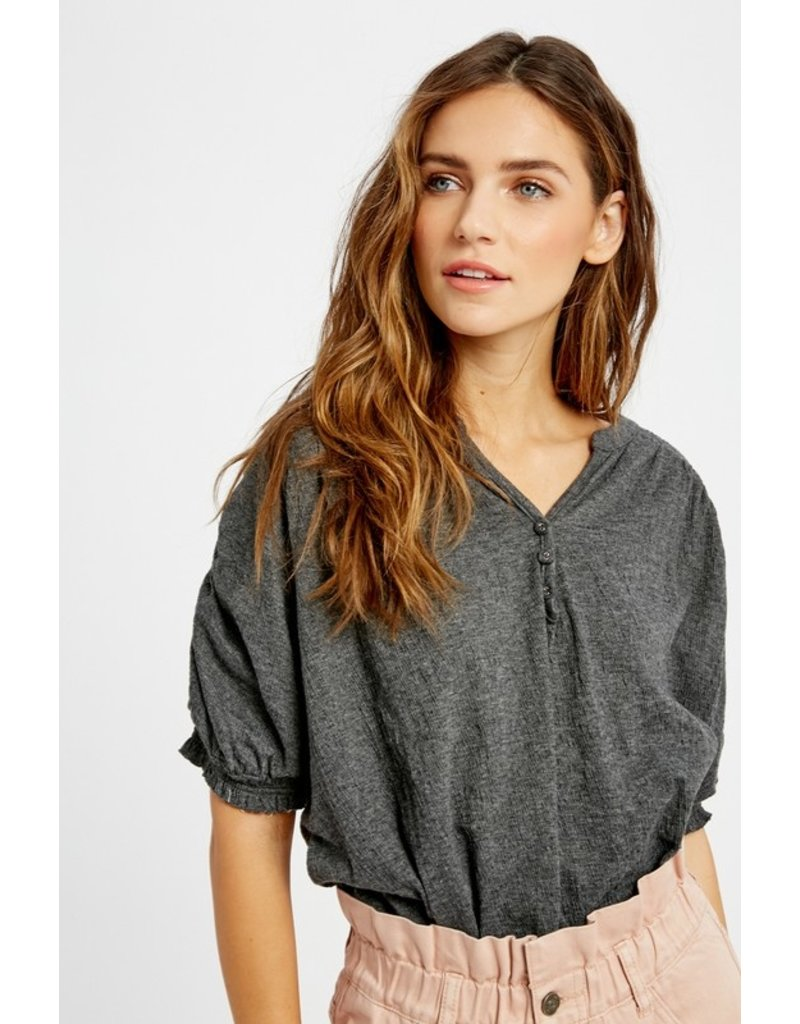 Ruched Basic Top - Charcoal