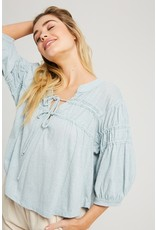Ruched Trim Knit Top - Blue