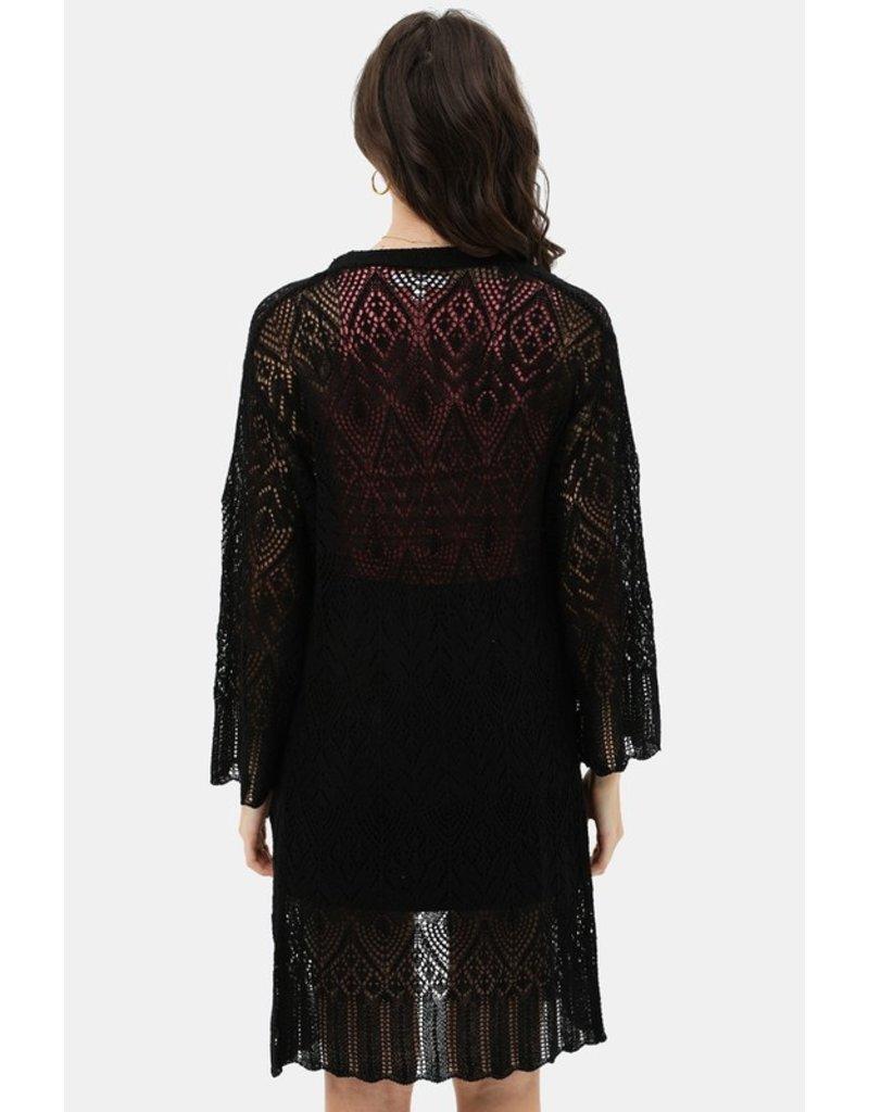 Lace Bell Sleeve Cardigan - Black