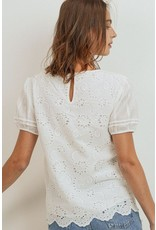 Eyelet Round Collar Top - White