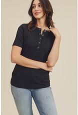 Short Sleeve Button Top - Black