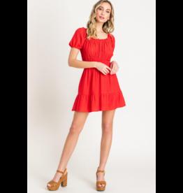 Lush Mini Ruffle Dress - Red