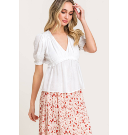 Lush Short sleeve w/Gathers Top - White