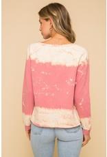 Tie Dye Tie Front Sweatshirt - Mauve