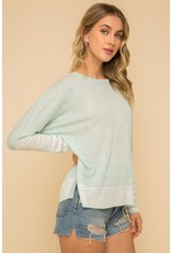 Stripe Contrast Sweater - Mint