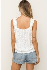 Ruffle Strap Dotted Tank - White