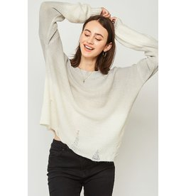 Distressed Bottom Sweater - Grey/Cream