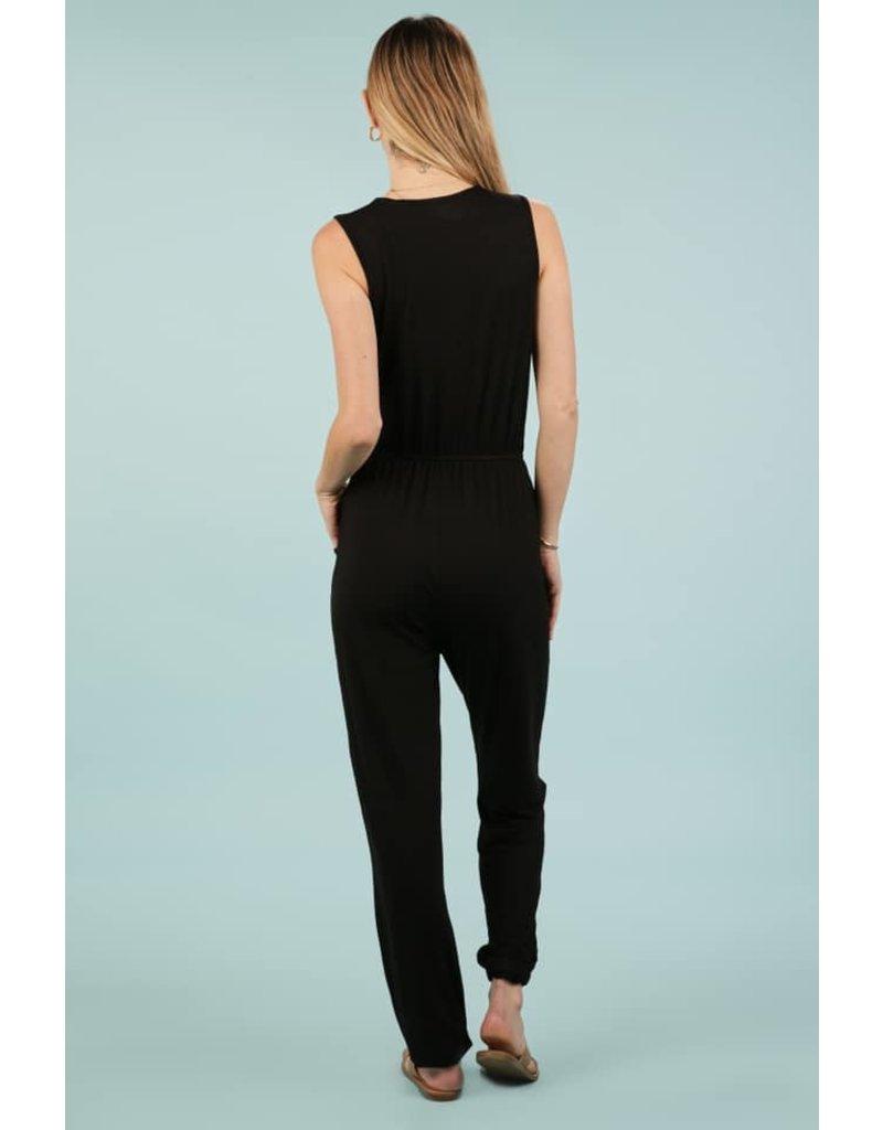 44507 - Sleveless V Neck Jumpsuit - Black