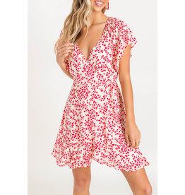 Lush Flutter Wrap Mini Dress - Natural/Red