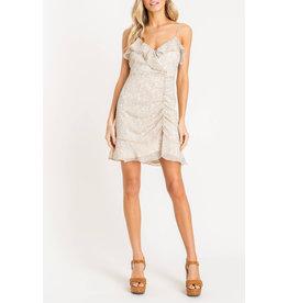 Lush Strappy Ruffle Dress - Cream