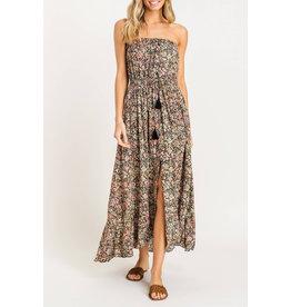 Lush Strapless Floral Dress - Black