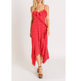 Lush Hankerchief Ruffle Dress - Red Floral