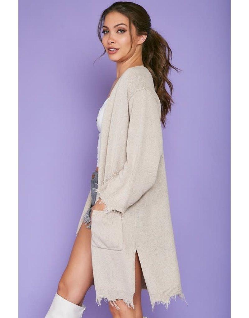 Long cardigan with raw edge