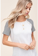Stripe Sleeve w/ button detail top