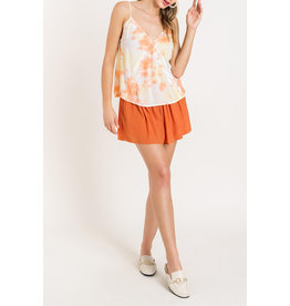 Tie Dye lace inset Cami - Peach