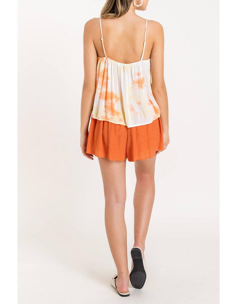 Tie Dye lace inset Cami - Peach