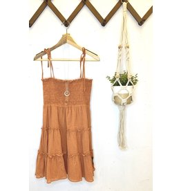 Smocked Top Tiered Dress - Mauve
