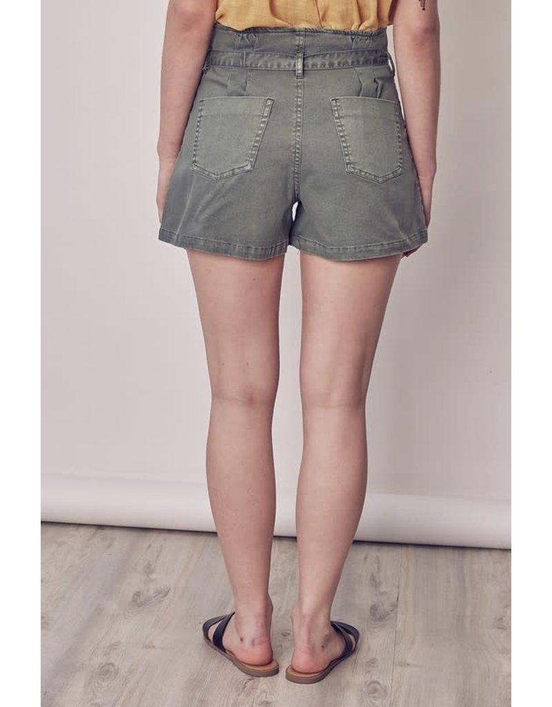 Paperbag Waist Short - Green