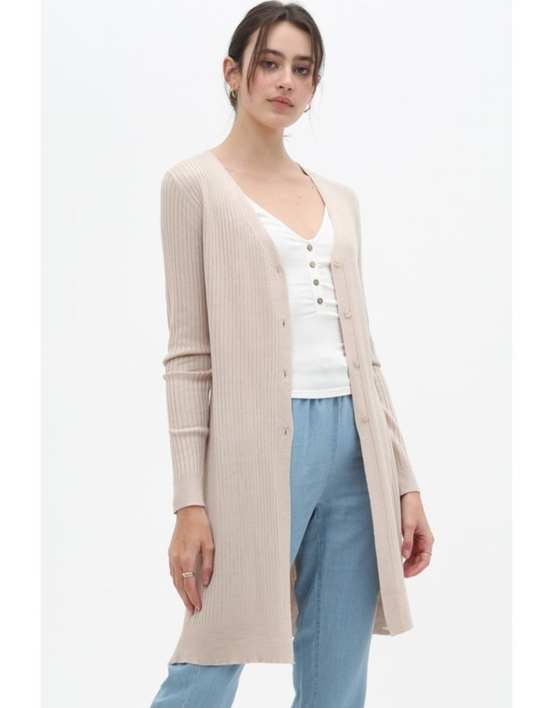 Ribbed Cardigan - Oatmeal