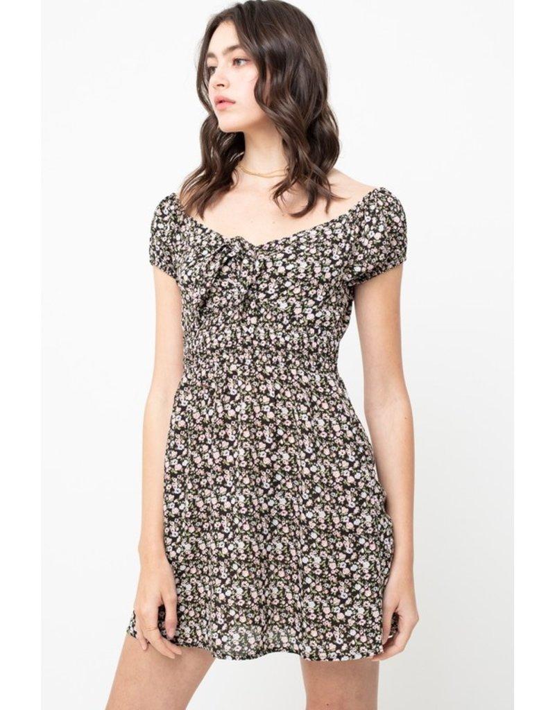 Floral Dress w/Tie Front - Black