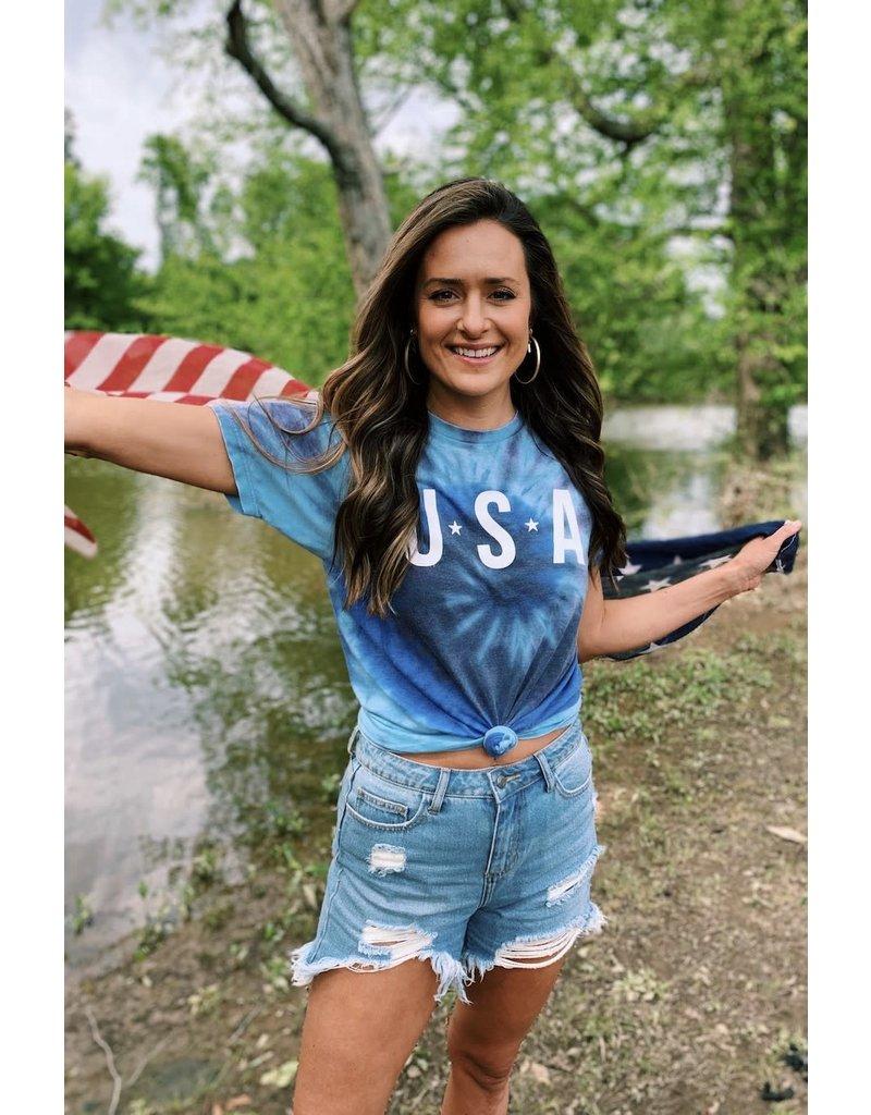 USA Tie Dye Burnout - Blue