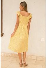 Flutter Sleeve Button Up Midi Dress - Mustard