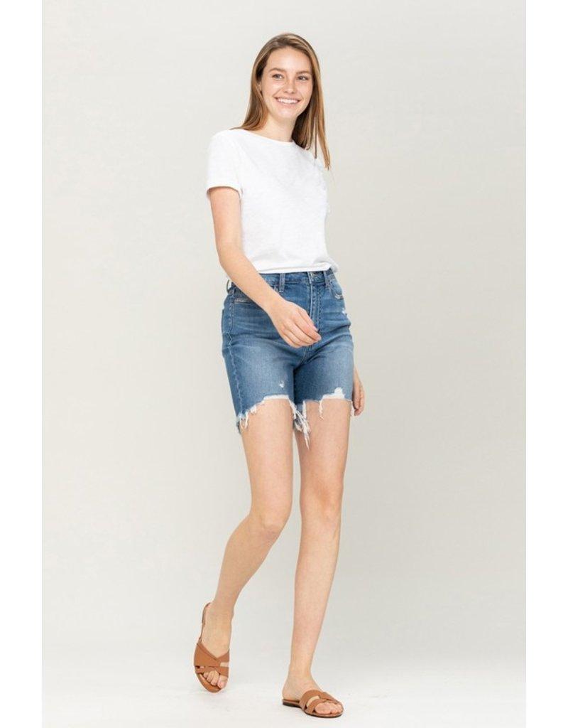 High Rise Frayed Bottom Shorts