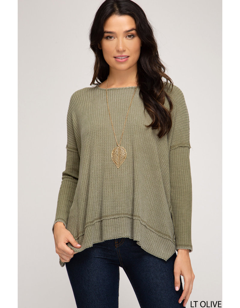 Waffle Knit Twisted Back Top - Olive