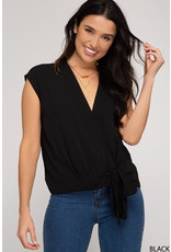 Woven Top with side Tie - Black