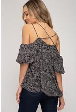 Bubble Short Sleeve off Shoulder Top - Black