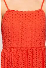 Eyelet Lace Dress - Tomato