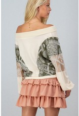 Off Shoulder Top - Cream Patchwork Sleeves
