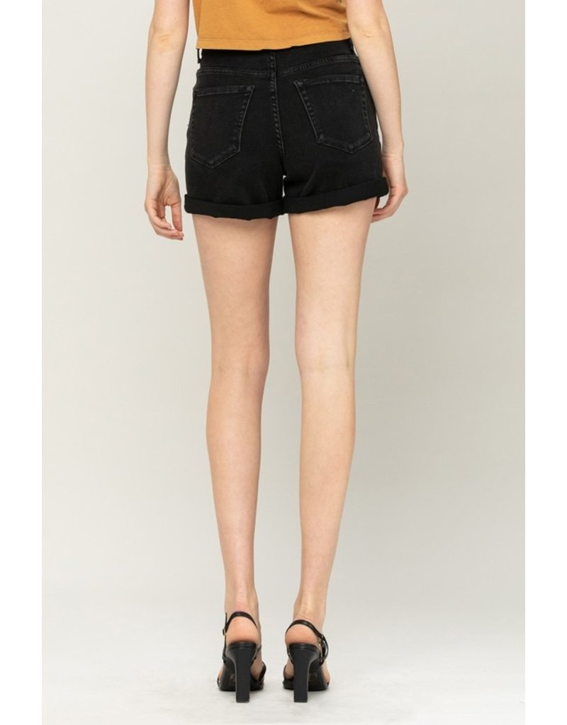 High Rise Cuffed Mom Short - Black