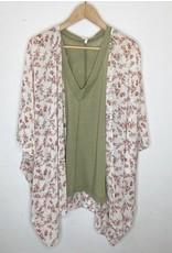 Kimono - Cream w/small flowers