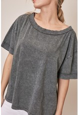 Boat Neck Top - Charcoal
