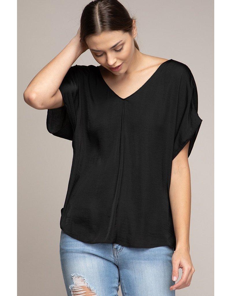 Short Sleeve Top with V Back - Black