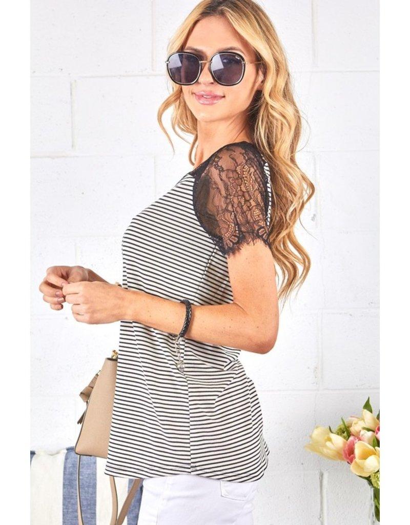 Stripe Tee w/lace sleeves - Black/White