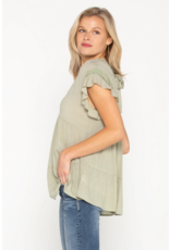 Miss Me Ruffle Top with tie back - Sage