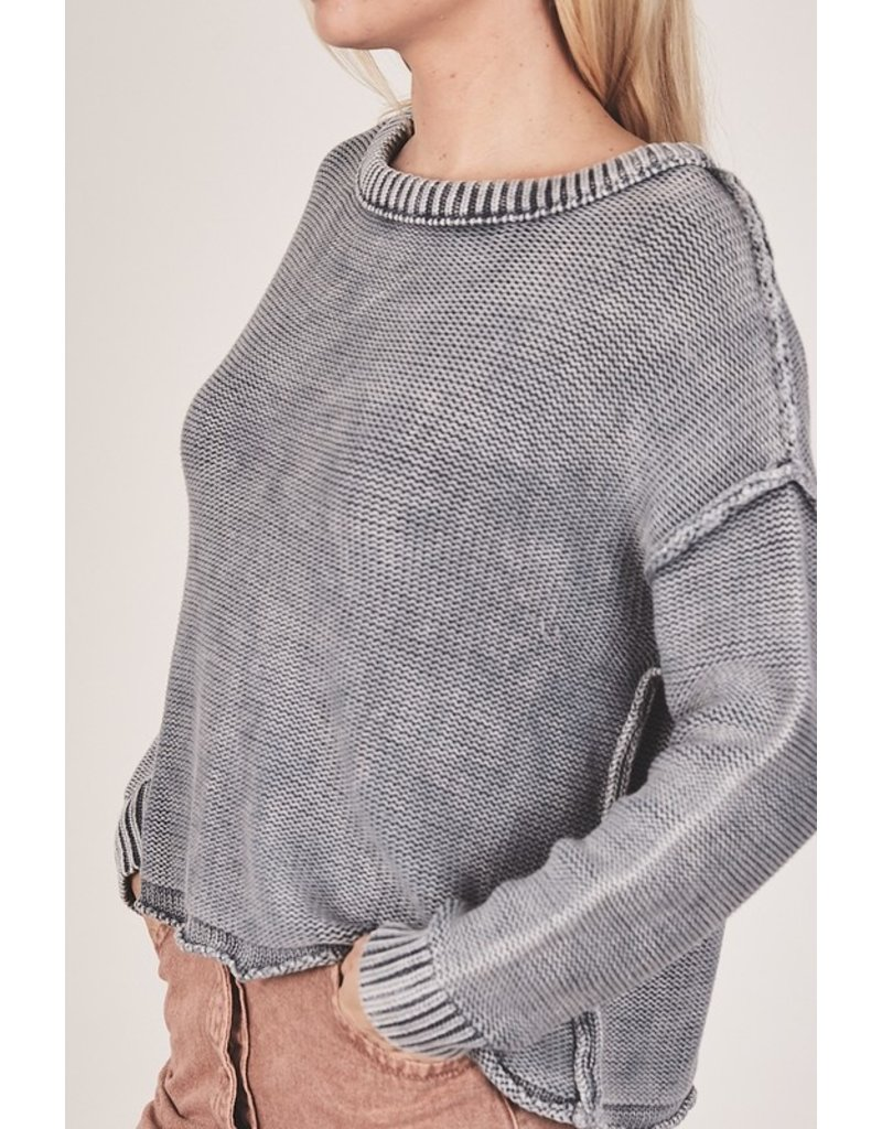 Ribbed Brushed Sweater - Charcoal